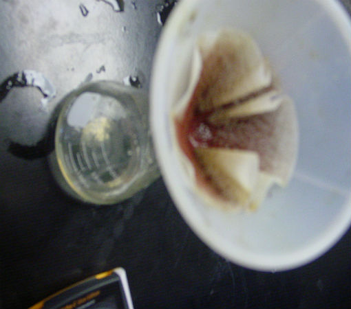 Iron Filings and Copper II Chloride - copper precipitate in filiter paper